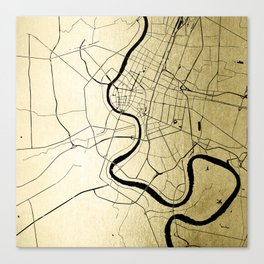 Bangkok Thailand Minimal Street Map - Gold Metallic and Black Canvas Print