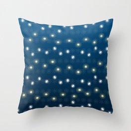 Christmas Light Blue Throw Pillow