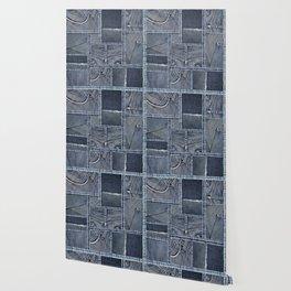 Blue Jeans Denim Patchwork Pattern Wallpaper