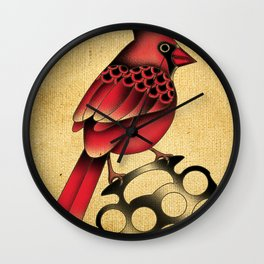 Cardinal and knuckle duster with canvas background Wall Clock