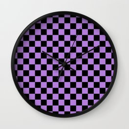 Black and Lavender Violet Checkerboard Wall Clock