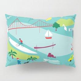 San Francisco, California - Collage Illustration by Loose Petals Pillow Sham