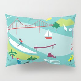 San Francisco, California - Collage Illustration by Loose Petals Pillow Sham