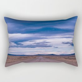 Wind and empty roads in Patagonia. Rectangular Pillow