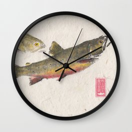 Pair of Brook Trout- Gyotaku Wall Clock