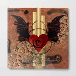 Heart with dragon and wings Metal Print
