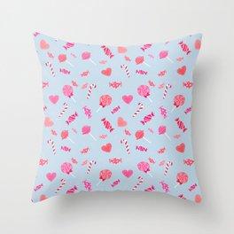 Sweet Candy Blue Pink pattern Throw Pillow