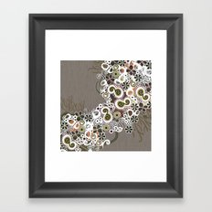 Diagonal flower – brown and olive green fiber Framed Art Print