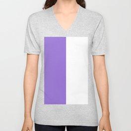 White and Dark Pastel Purple Vertical Halves Unisex V-Neck