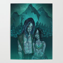 Illustration digital art native hippie couple on mountain with blue feeling Poster