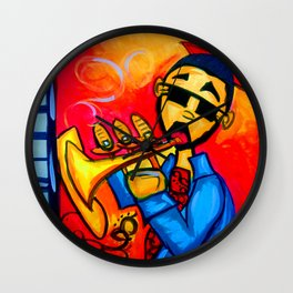 Musician against red background with blue piano keys Wall Clock