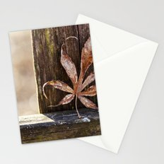a leaf and bokeh Stationery Cards