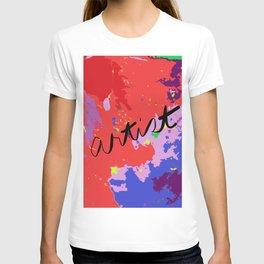 ARTIST in reds, blues, purples T-shirt