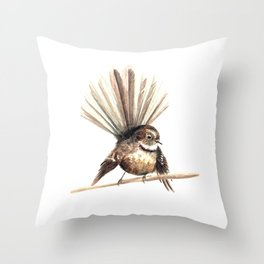 Piwakawaka / Fantail - a native New Zealand bird 2011 Throw Pillow