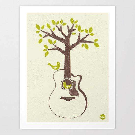Birds & Acoustic Guitar Art Print