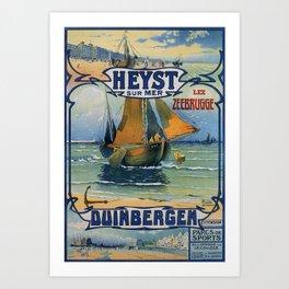 Antique travel fishing boat Heist Duinbergen Art Print