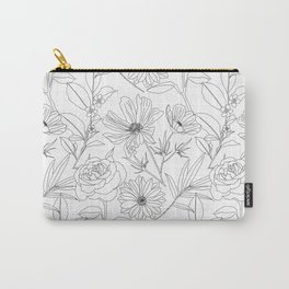 stylish garden flowers black outlines design Carry-All Pouch