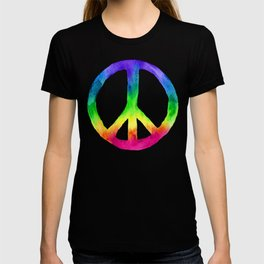 Rainbow Watercolor Peace Sign - Black Background T-shirt