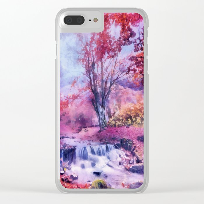 Waterfall in colorful autumn forest Clear iPhone Case