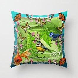 Birdy & Fishy spring blue Throw Pillow