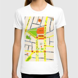 Tel Aviv map design - written in Hebrew T-shirt