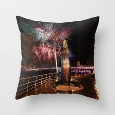 Fireworks at Swansea SA1 Throw Pillow