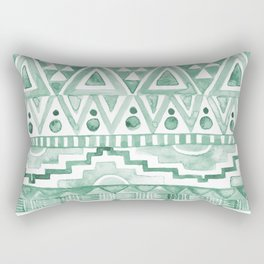 Watercolor Aztec Pattern Green Rectangular Pillow