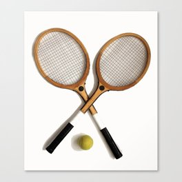 vintage Tennis rackets and ball Canvas Print