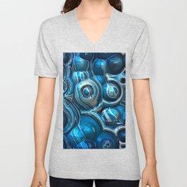 Macro 3D Blue Reflections Unisex V-Neck