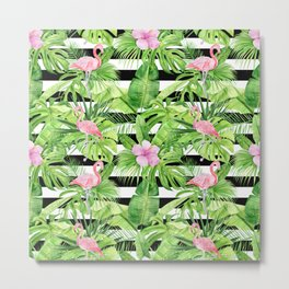 Flamingo Stripes Metal Print