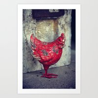 chicken Art Prints featuring Chicken by KunstFabrik_StaticMovement Manu Jobst