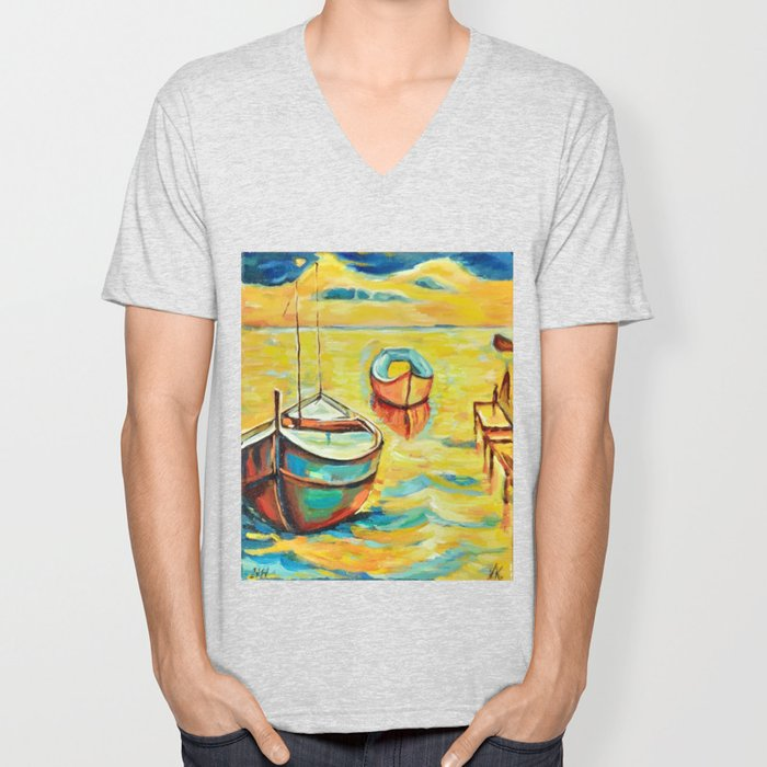 Two Boats on the Quay Unisex V-Neck