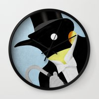 penguin Wall Clocks featuring Penguin by Chase Kunz