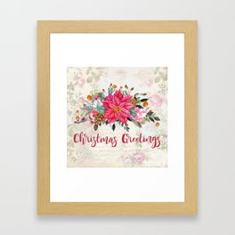 Christmas Greetings Poinsettia Bouquet Framed Art Print