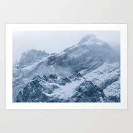 Mountains snow and fog Art Print