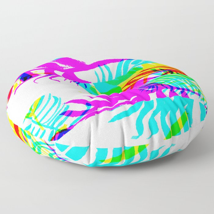 Glitch botany palm leaves set and summer jungle watercolor palm. Floor Pillow