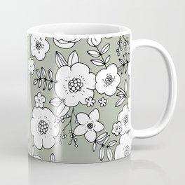 Romantic English Botanical flower Garden sage green Coffee Mug