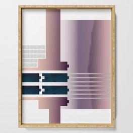 Minimalist Gradient Geometric Interlocking Abstract Structures #buyart #homedecor Serving Tray