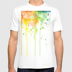 Watercolor Rainbow Splatters Abstract Texture White MEDIUM Mens Fitted Tee