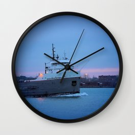 Great Lakes Frighte At Sunset Wall Clock