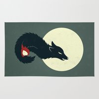 red hood Area & Throw Rugs featuring Little Red Riding Hood by Freeminds