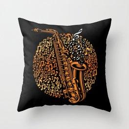 Saxophone Musician Sax Player Jazz Music Art Throw Pillow