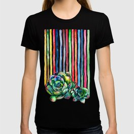 Rainbow Succulents - pencil & watercolor illustration T-shirt