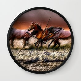 Wild Horses of the Outer Banks, North Carolina Landscape by Jeanpaul Ferro Wall Clock