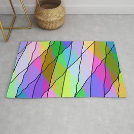 Mirrored square shards curved pink intersecting ribbons and gentle lines. Rug