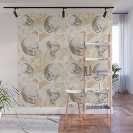 Skulls, Flowers and Butterflies pattern on ivory Wall Mural