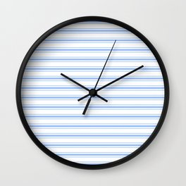Mattress Ticking Wide Horizontal Striped Pattern in Pale Blue and White Wall Clock