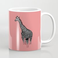 newspaper Mugs featuring Newspaper Giraffe by Doolin