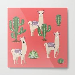 Llama with Cacti Metal Print