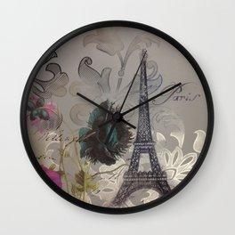 shabby elegance poppy flower french vintage paris Eiffel Tower Wall Clock